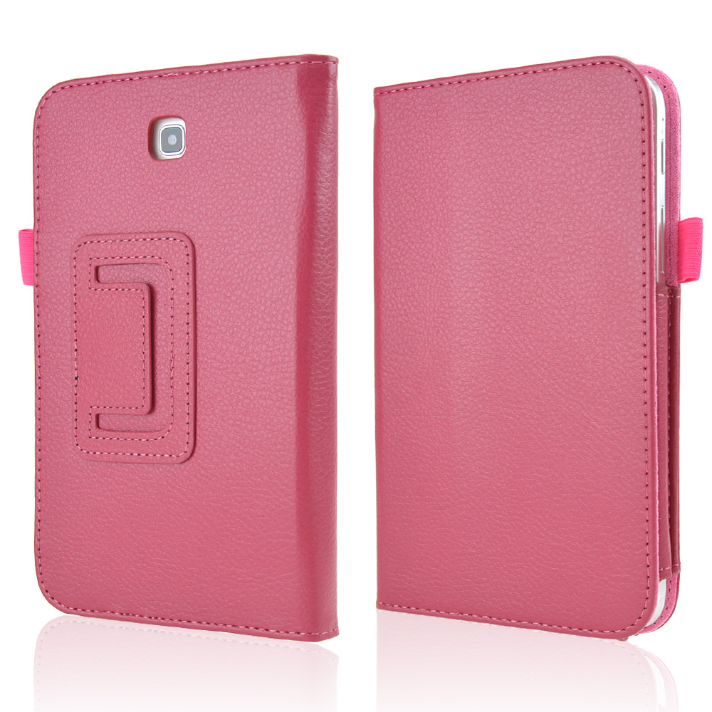 Rose Pink Faux Leather Stand Case w/ Magnetic Closure for Samsung Galaxy Tab 3 7.0