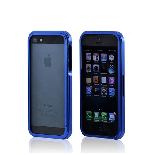 Apple iPhone SE / 5 / 5S Bumper Case,  [Blue ]  Premium Aluminum Bumper Case w/ Slide-On Front