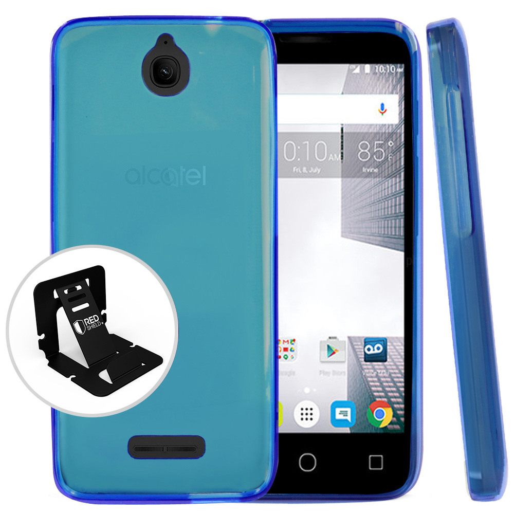 Alcatel Dawn / Acquire / Streak Case, REDshield [Blue] Slim & Flexible Anti-shock Crystal Silicone Protective TPU Gel Skin Case Cover with Travel Wallet Phone Stand