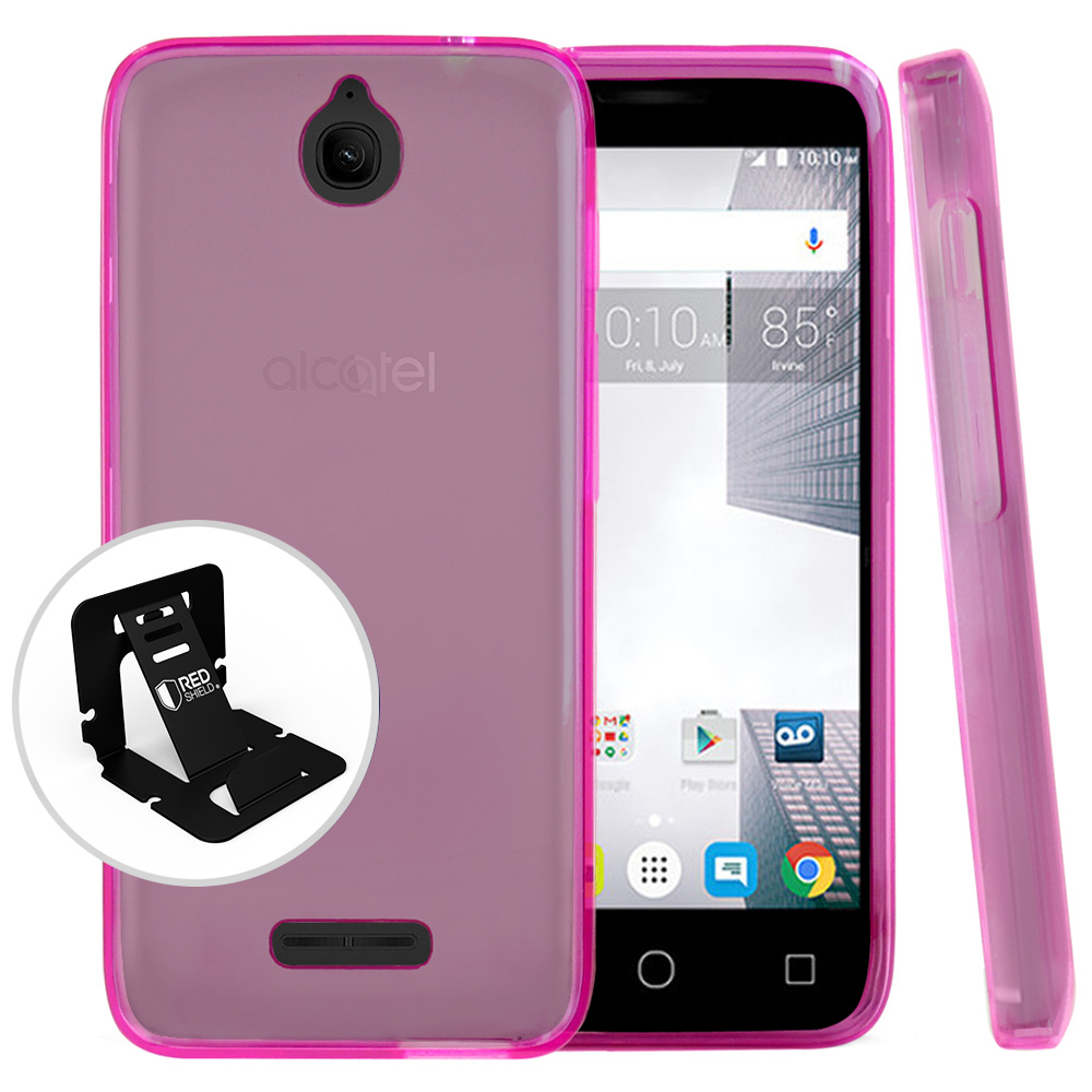 Alcatel Dawn / Acquire / Streak Case, REDshield [Hot Pink] Slim & Flexible Anti-shock Crystal Silicone Protective TPU Gel Skin Case Cover with Travel Wallet Phone Stand