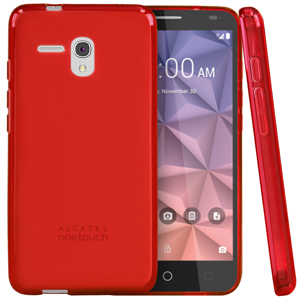 Alcatel OneTouch Fierce XL Case, [Red] Slim & Flexible Crystal Silicone TPU Protective Case