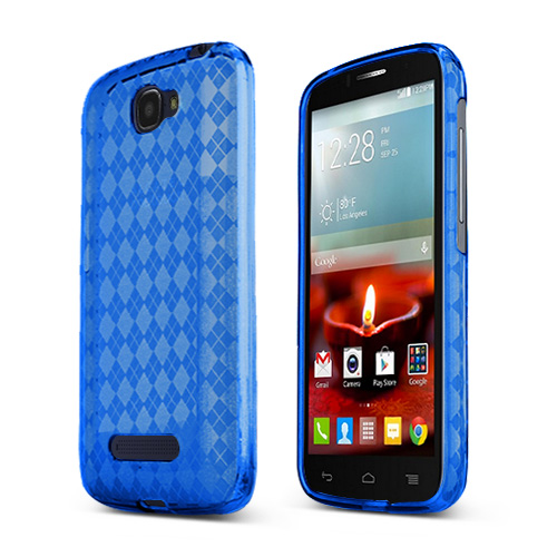 Blue Alcatel One Touch Fierce 2 Flexible Crystal Silicone TPU Case - Conforms To Your Phone Without Stretching Out!