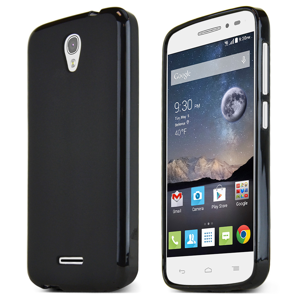 Alcatel Onetouch POP Astro Case, BLACK Slim & Flexible Anti-shock Crystal Silicone TPU Skin Protective Case