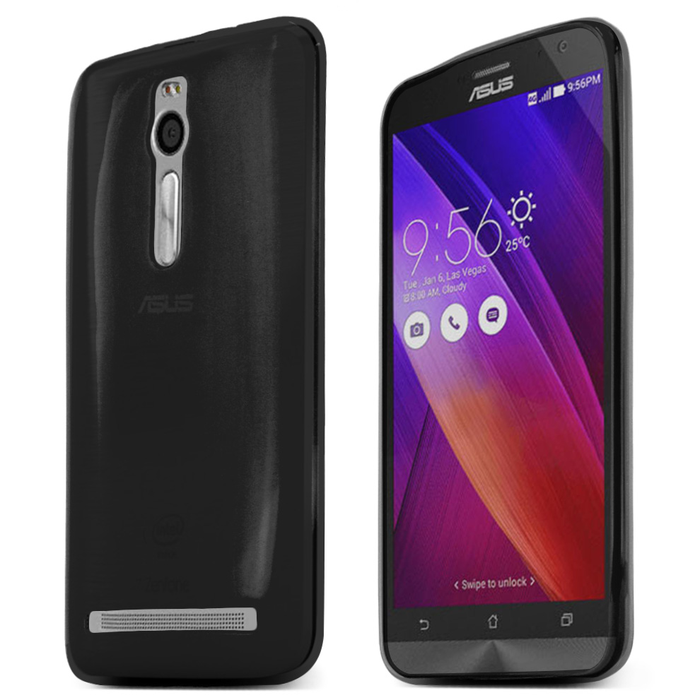 Asus Zenfone 2 Case, Black Slim & Flexible Anti-shock Crystal Silicone TPU Skin Protective Case