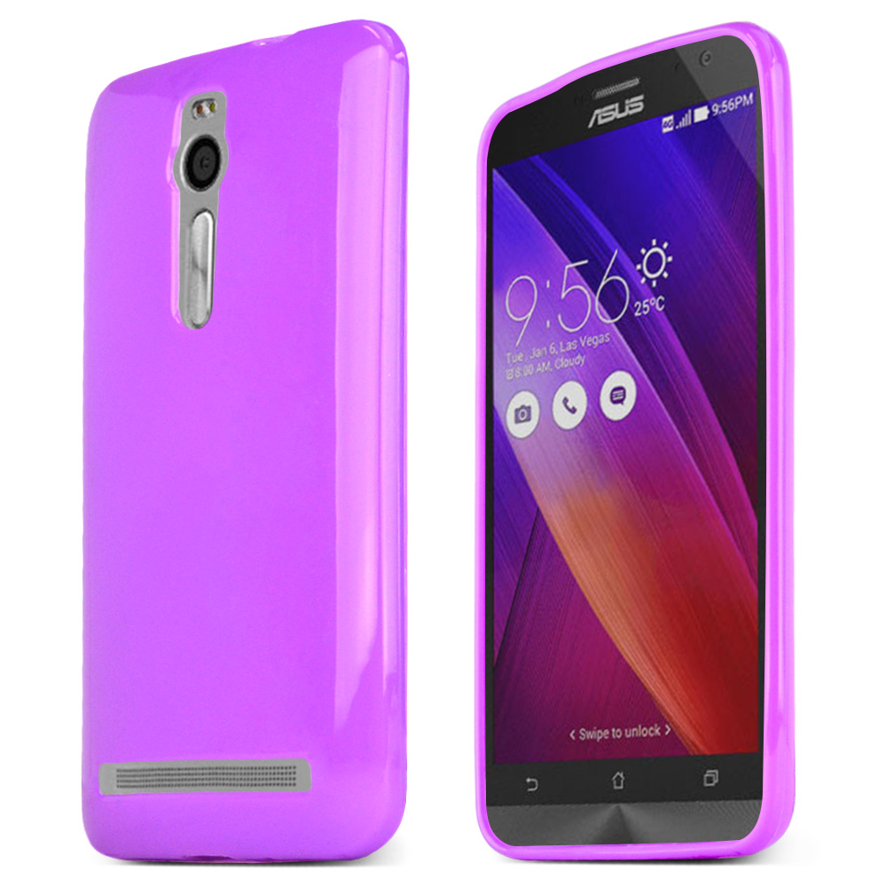 Asus Zenfone 2 Case, Purple Slim & Flexible Anti-shock Crystal Silicone TPU Skin Protective Case