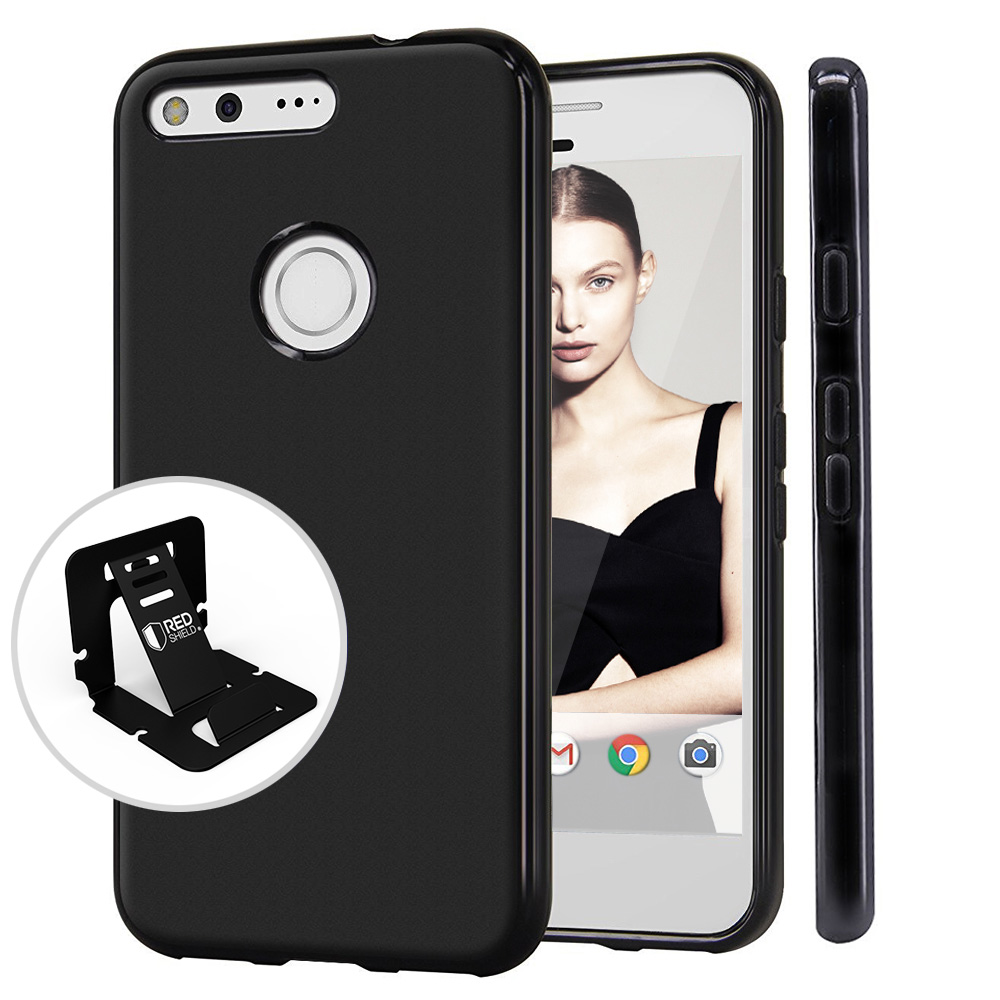 [Google Pixel] Case, REDshield [Black] Slim & Flexible Anti-shock Crystal Silicone Protective TPU Gel Skin Case Cover with Travel Wallet Phone Stand