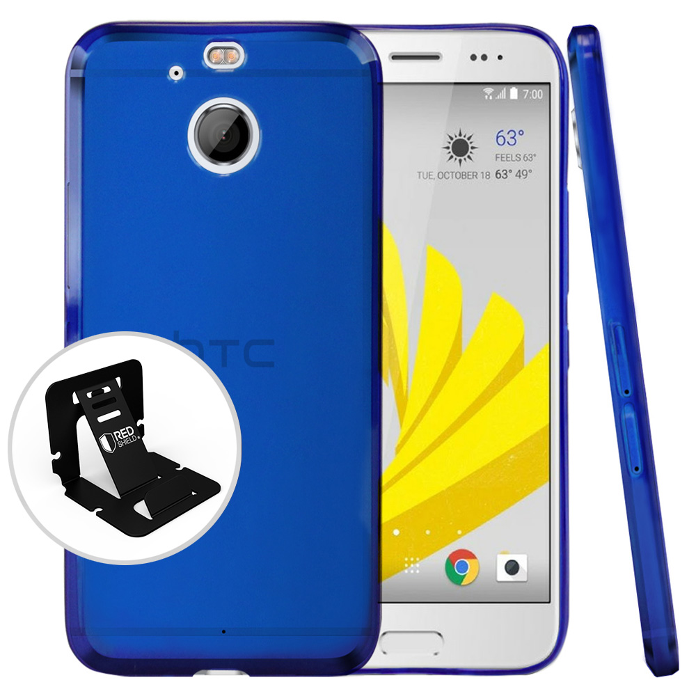 HTC Bolt Case, [Blue] Slim & Flexible Anti-shock Crystal Silicone Protective TPU Case with Travel Wallet Phone Stand