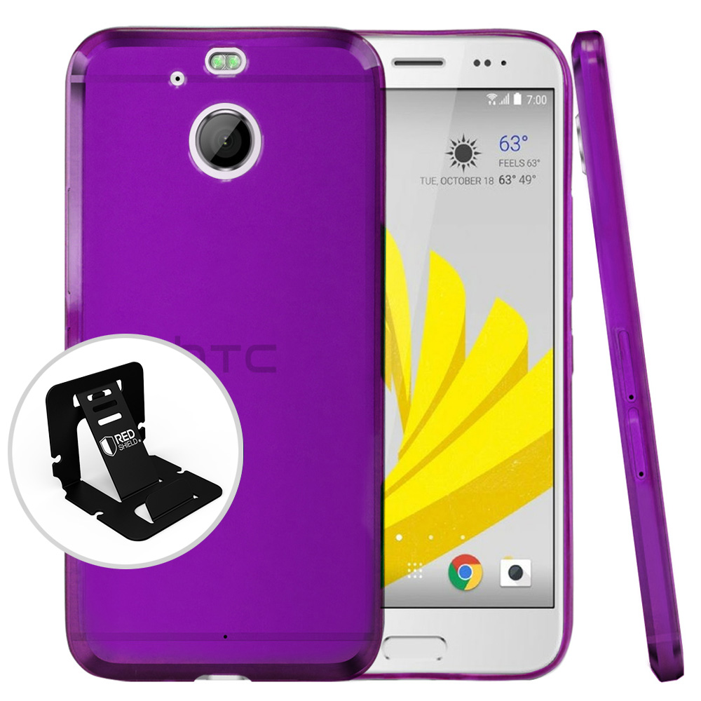 HTC Bolt Case, [Purple] Slim & Flexible Anti-shock Crystal Silicone Protective TPU Case with Travel Wallet Phone Stand