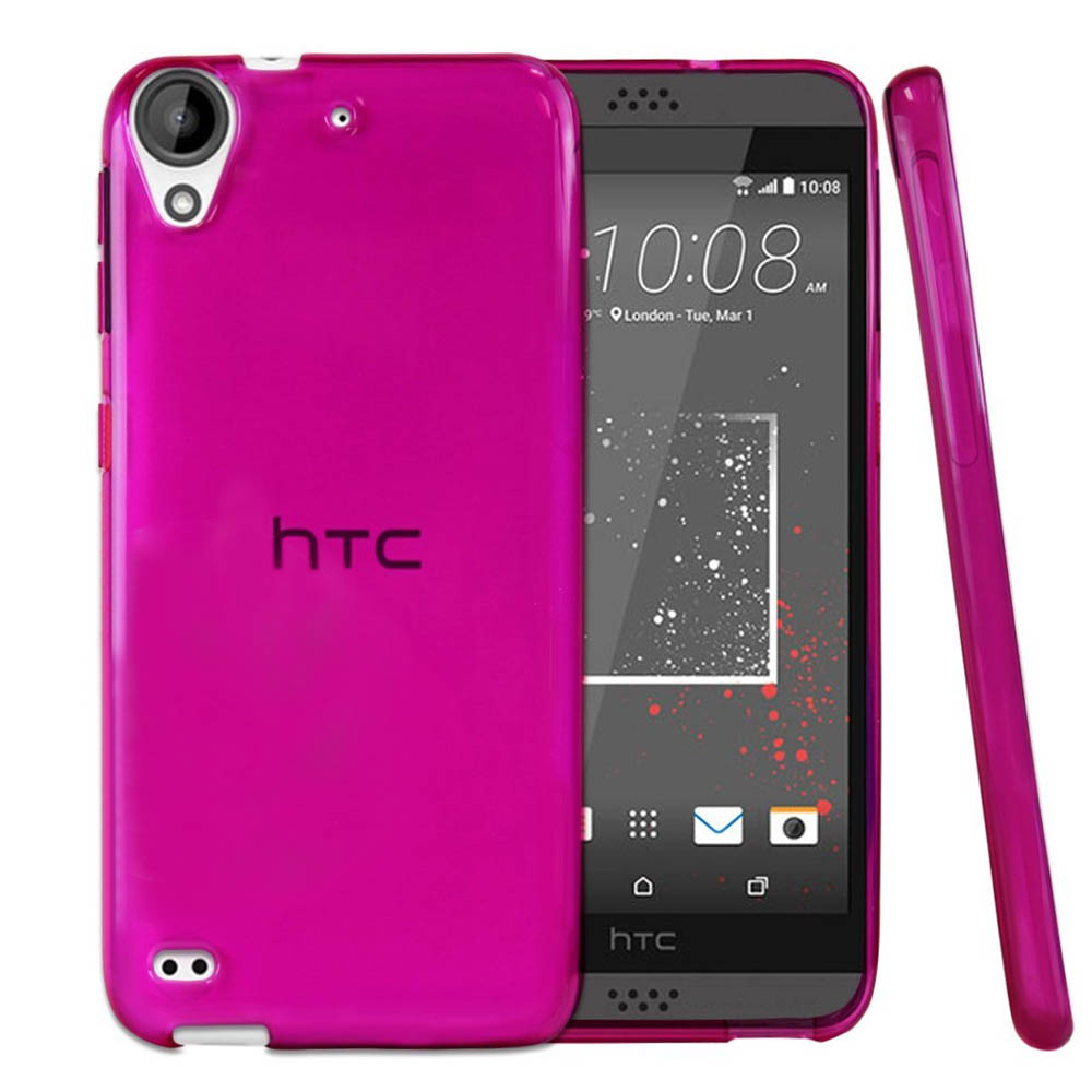 HTC Desire 530 Case, REDshield [Hot Pink] Slim & Flexible Anti-shock Crystal Silicone Protective TPU Gel Skin Case Cover with Travel Wallet Phone Stand