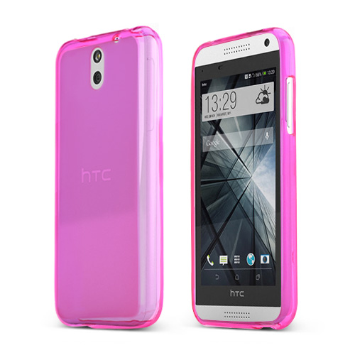 Hot Pink/ Frost HTC Desire 610 Flexible Crystal Silicone TPU Case - Conforms To Your Phone Without Stretching Out!