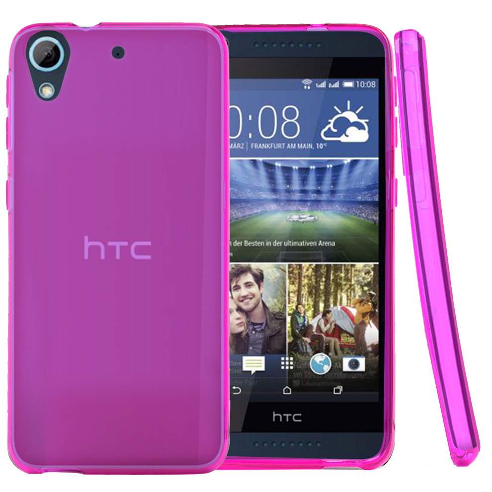 HTC Desire 626 Case, [Hot Pink] Slim & Flexible Crystal Silicone TPU Protective Case
