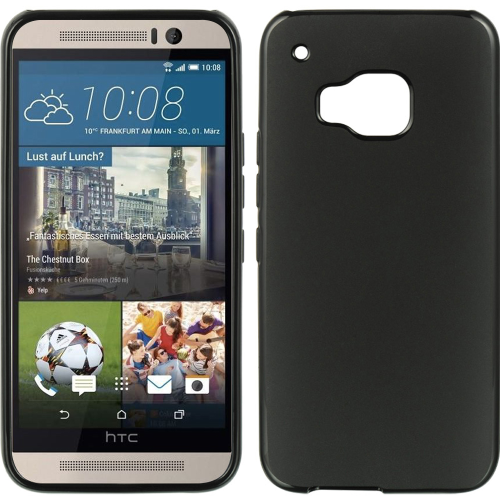 HTC One M9 Case, [Black]  Slim & Flexible Anti-shock Crystal Silicone Protective TPU Gel Skin Case Cover