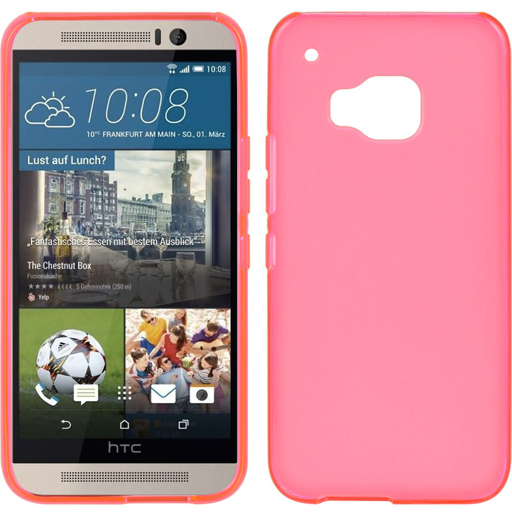 HTC One M9 Case, [Hot Pink]  Slim & Flexible Anti-shock Crystal Silicone Protective TPU Gel Skin Case Cover