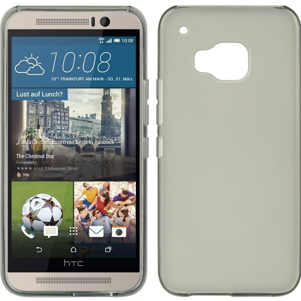 HTC One M9 Case, [Smoke]  Slim & Flexible Anti-shock Crystal Silicone Protective TPU Gel Skin Case Cover