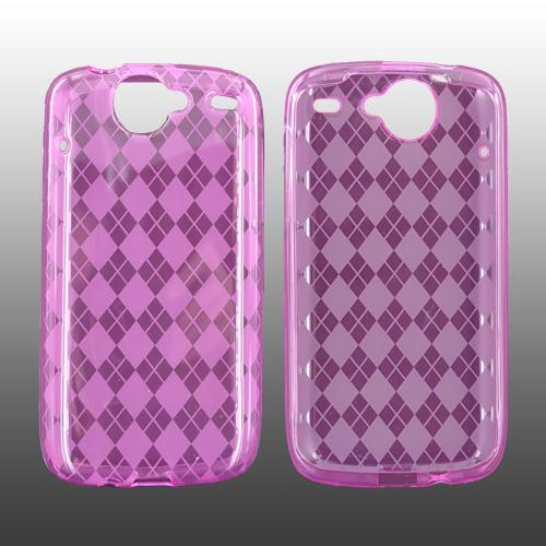 Google Nexus One Crystal Silicone Case - Argyle Print on Transparent Hot Pink