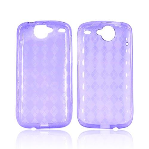 Google Nexus One Crystal Silicone Case - Argyle Print on Transparent Purple