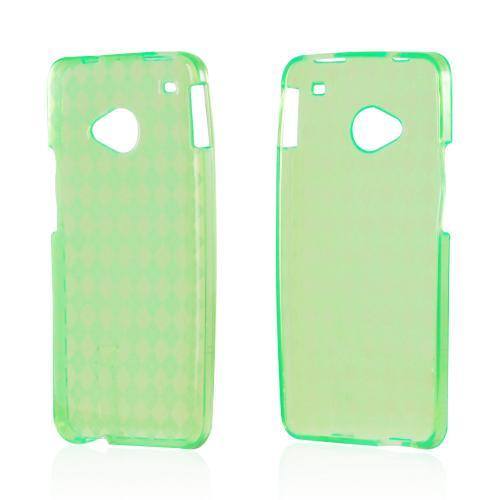Argyle Neon Green Crystal Silicone Case for HTC One