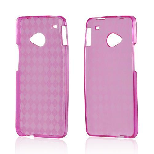Argyle Hot Pink Crystal Silicone Case for HTC One