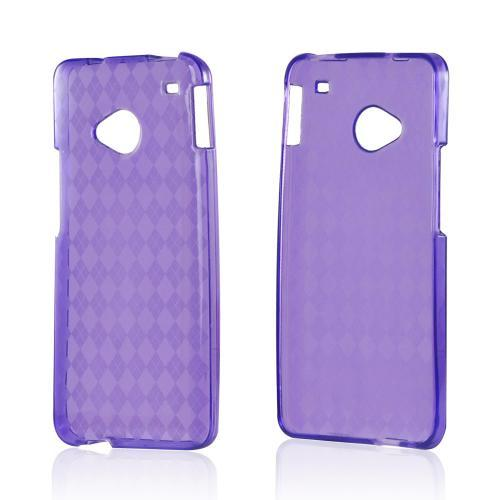 Argyle Purple Crystal Silicone Case for HTC One