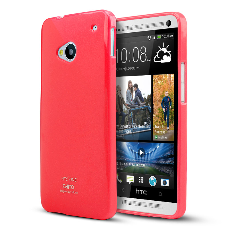 Pink/ Coral Crystal Silicone Skin Case for HTC One
