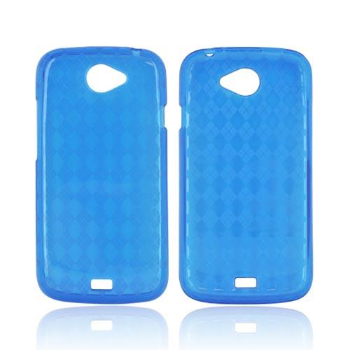 HTC One S Crystal Silicone Case - Argyle Blue
