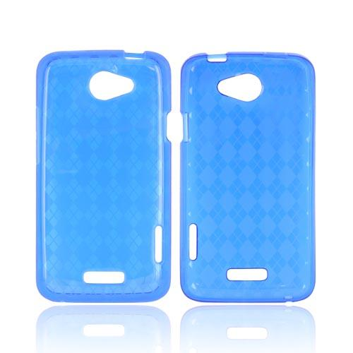 HTC One X Crystal Silicone Case - Argyle Blue