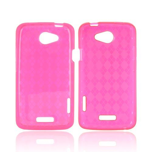 HTC One X Crystal Silicone Case - Argyle Hot Pink