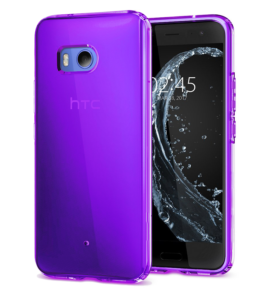 HTC U11 TPU Case, [REDshield] Slim & Flexible Anti-shock Crystal Silicone Protective TPU Gel Skin Case Cover [Purple] with Travel Wallet Phone Stand