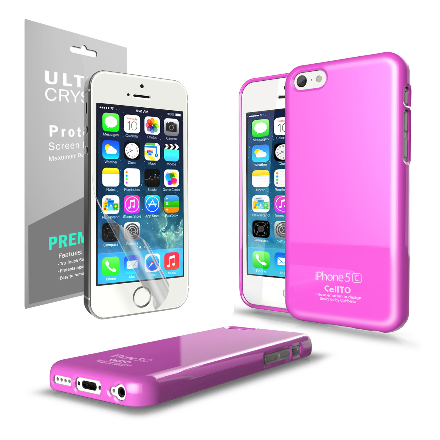 Hot Pink Anti-Slip TPU Crystal Silicone Skin Case & Free Screen Protector for Apple iPhone 5C - XXIP5C