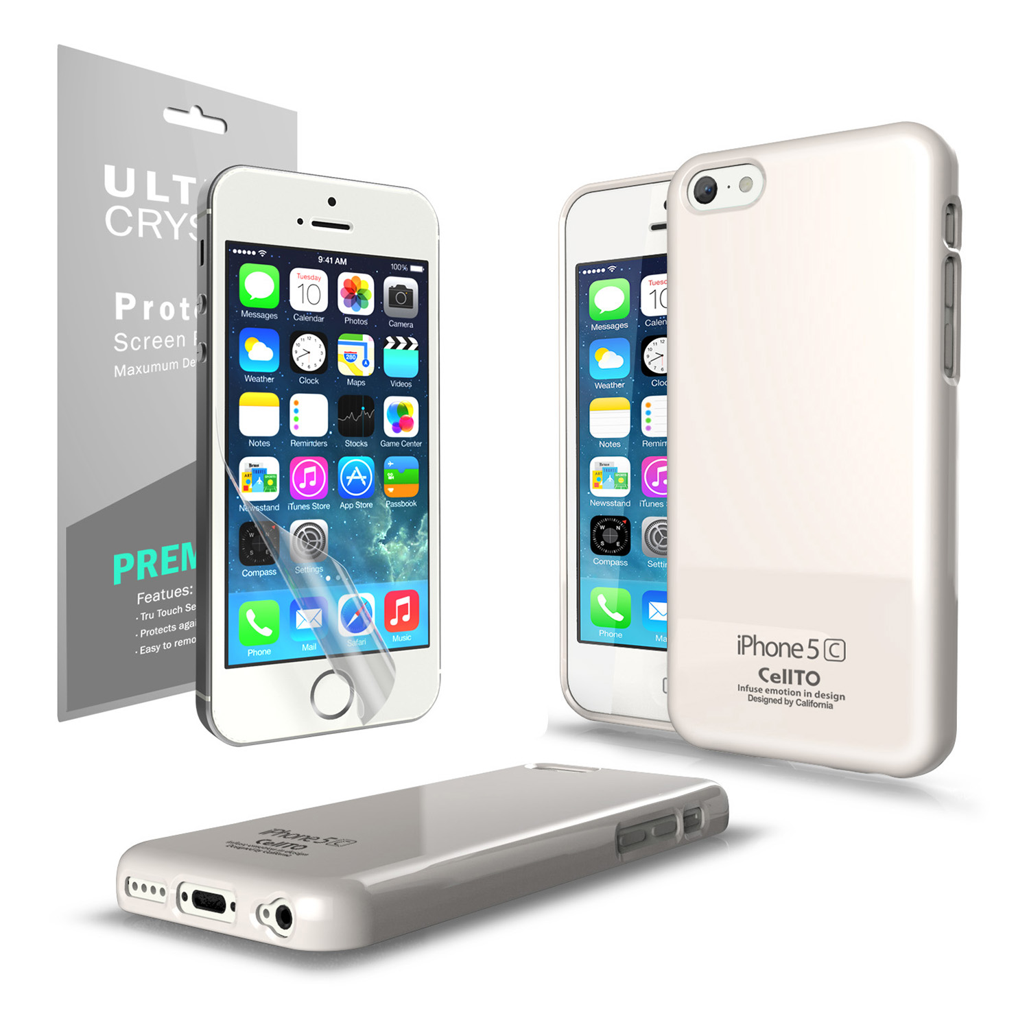 Apple iPhone 5C Case | Anti-Slip TPU Crystal Silicone Skin Case [White] & Free Screen Protector