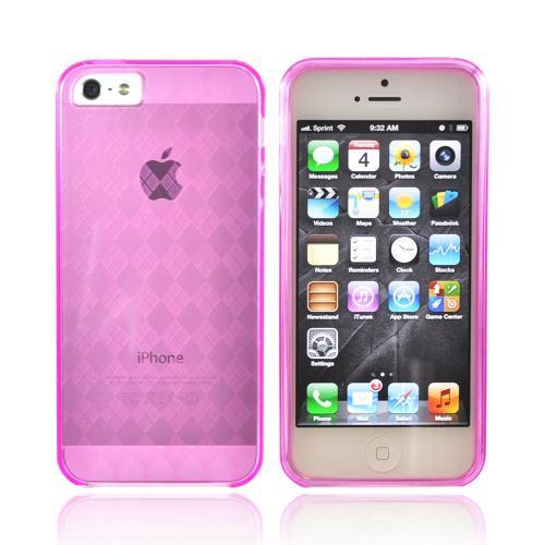 Apple iPhone SE / 5 / 5S  Case,  [Transparent Pink]  Slim & Flexible Anti-shock Crystal Silicone Protective TPU Gel Skin Bumper Case w/ Metal Buttons