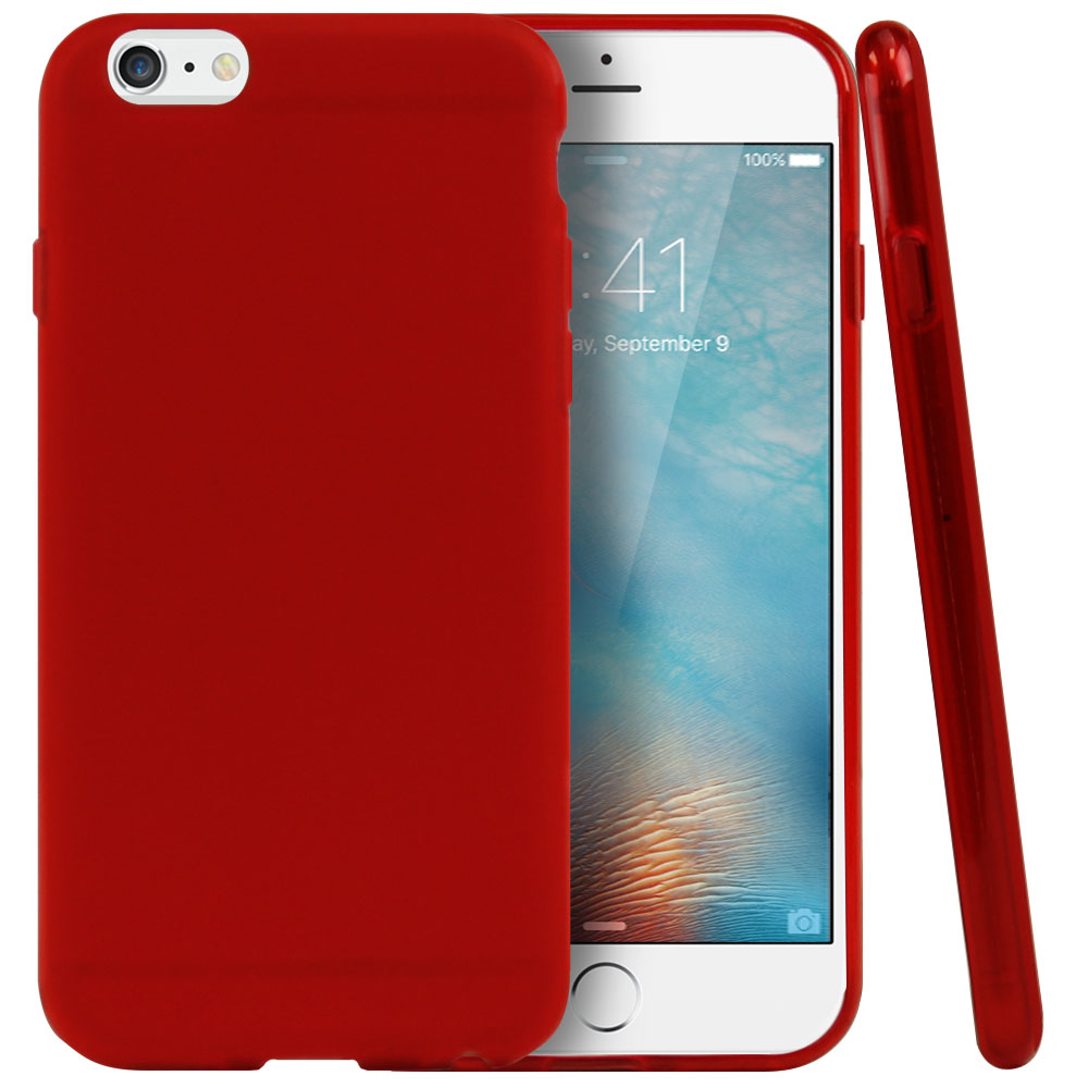 Apple iPhone 6/ 6S Case, REDshield [Red / Frost] Slim & Flexible Anti-shock Crystal Silicone Protective TPU Gel Skin Case Cover  with Travel Wallet Phone Stand