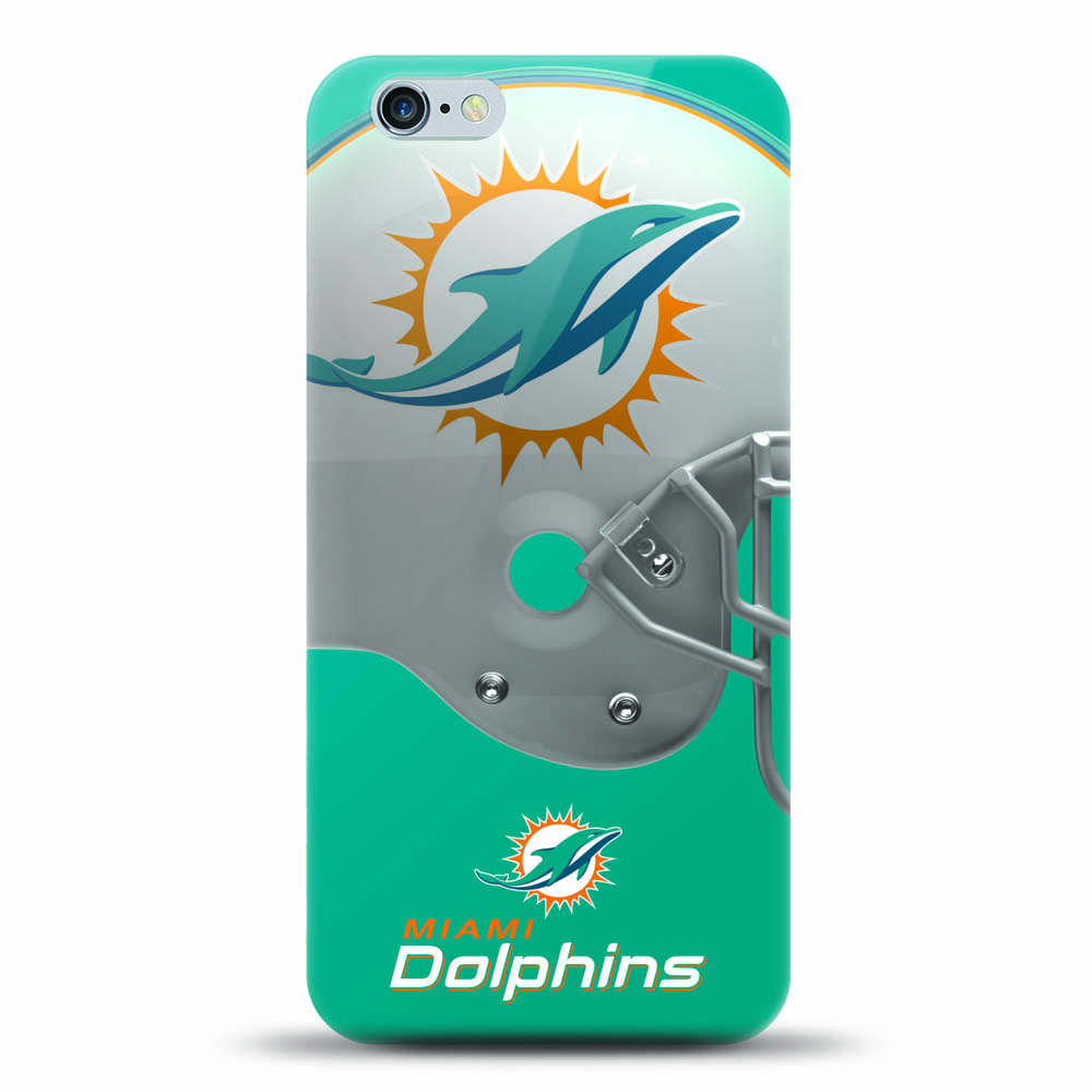 [MIZCO] Apple iPhone 6S / 6 Case, Helmet Series NFL Licensed [Miami Dolphins] Slim & Flexible Anti-shock Crystal Silicone Protective TPU Gel Skin Case Cover