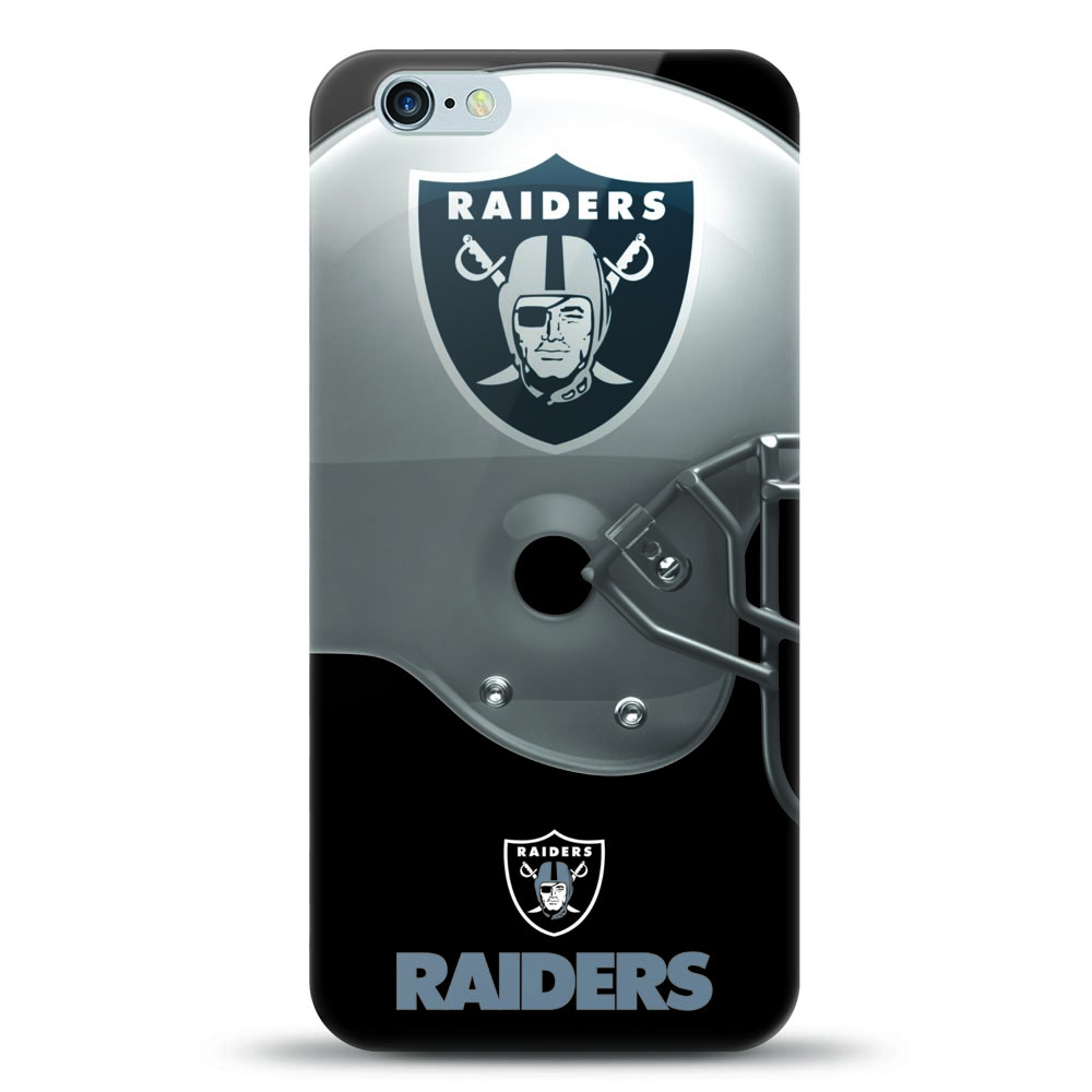 [MIZCO] Apple iPhone 6S / 6 Case, Helmet Series NFL Licensed [Oakland Raiders] Slim & Flexible Anti-shock Crystal Silicone Protective TPU Gel Skin Case Cover