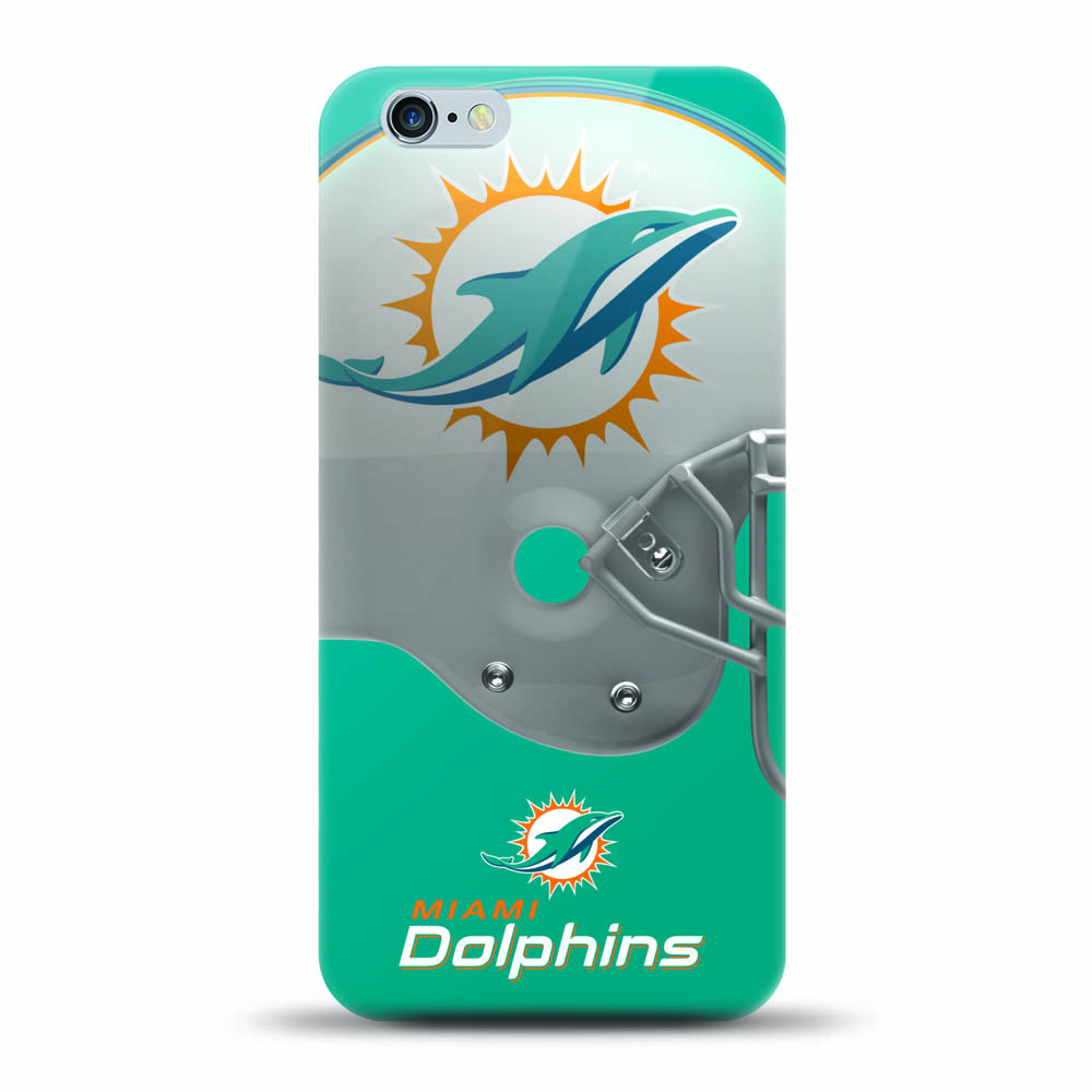 [MIZCO] Apple iPhone 8 / 7 / 6S / 6 Case, Helmet Series NFL Licensed [Miami Dolphins] Slim & Flexible Anti-shock Crystal Silicone Protective TPU Gel Skin Case Cover