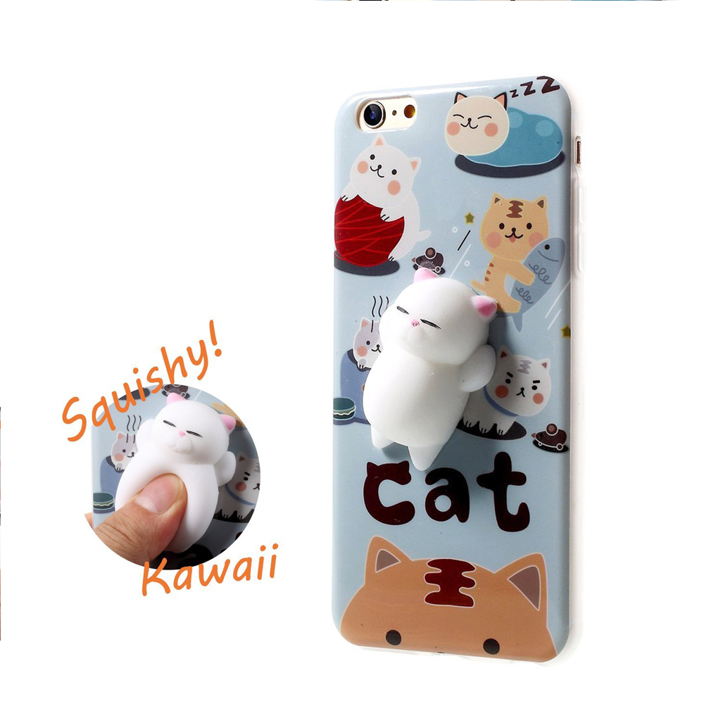 [REDshield] Apple iPhone 8 Plus / 7 Plus / 6S Plus / 6 Plus 3D Cat TPU Case, [Squishy White Kitty] Slim & Flexible Anti-shock Crystal Silicone Protective TPU Gel Skin Case Cover
