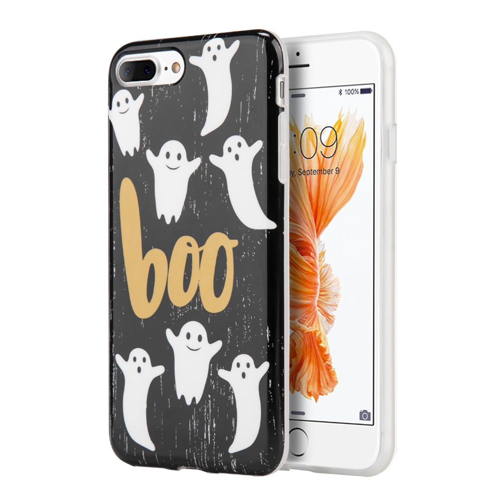 Apple Phone 7 Plus (5.5 inch) Case, Slim & Flexible Anti-shock Crystal Silicone Protective TPU Gel Skin Case Cover [Boo Ghosts] with Travel Wallet Phone Stand