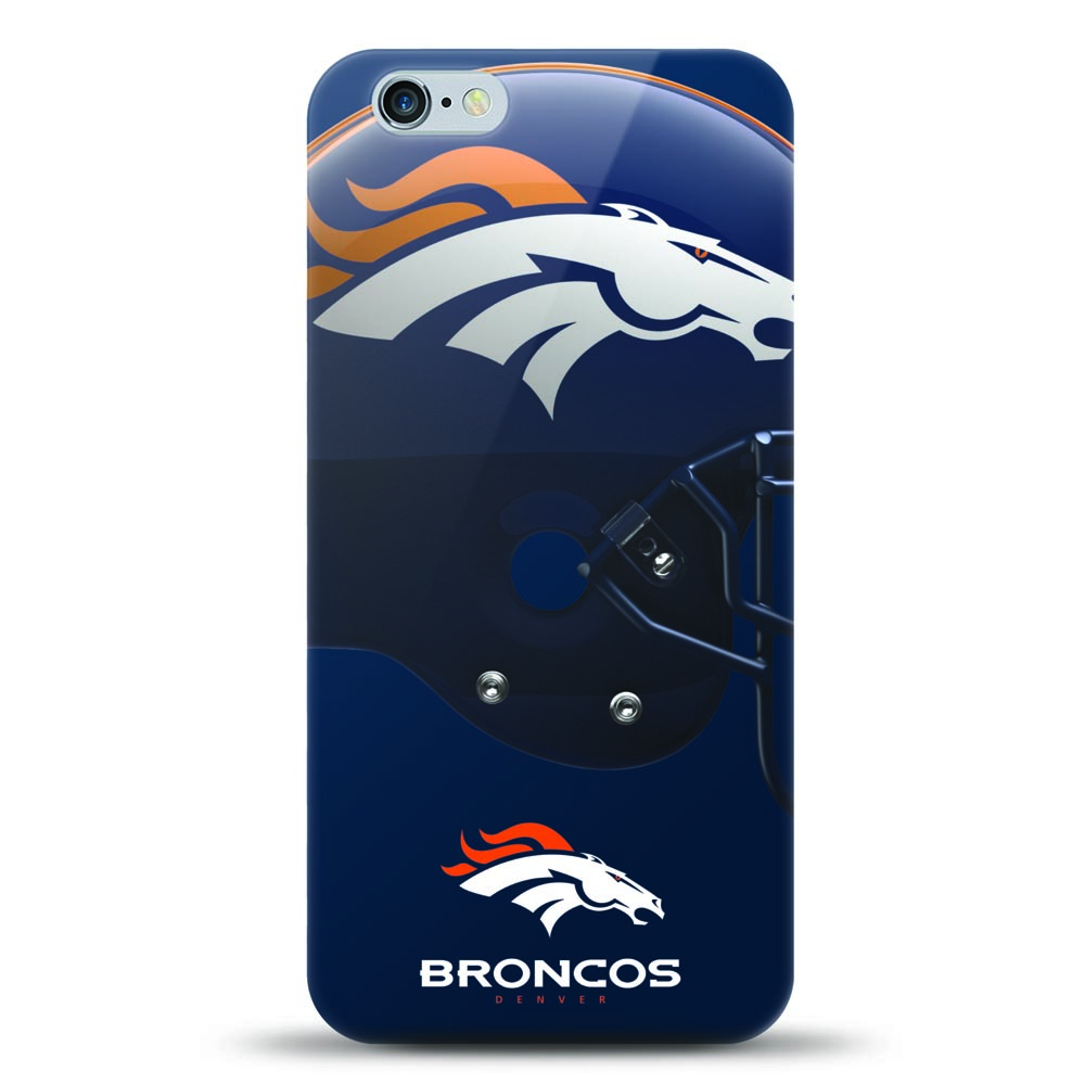 [MIZCO] Apple iPhone 8 Plus / 7 Plus / 6S Plus / 6 Plus Case, Helmet Series NFL Licensed [Denver Broncos] Slim & Flexible Anti-shock Crystal Silicone Protective TPU Gel Skin Case Cover