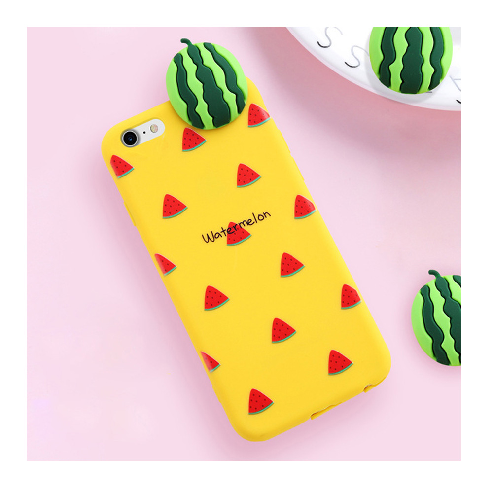 Made for Apple iPhone 8 / 7 / 6S / 6 3D TPU Case, [Watermelon on Yellow] Slim Flexible Anti-shock Crystal Silicone Protective TPU Gel Skin Case Cover by Redshield