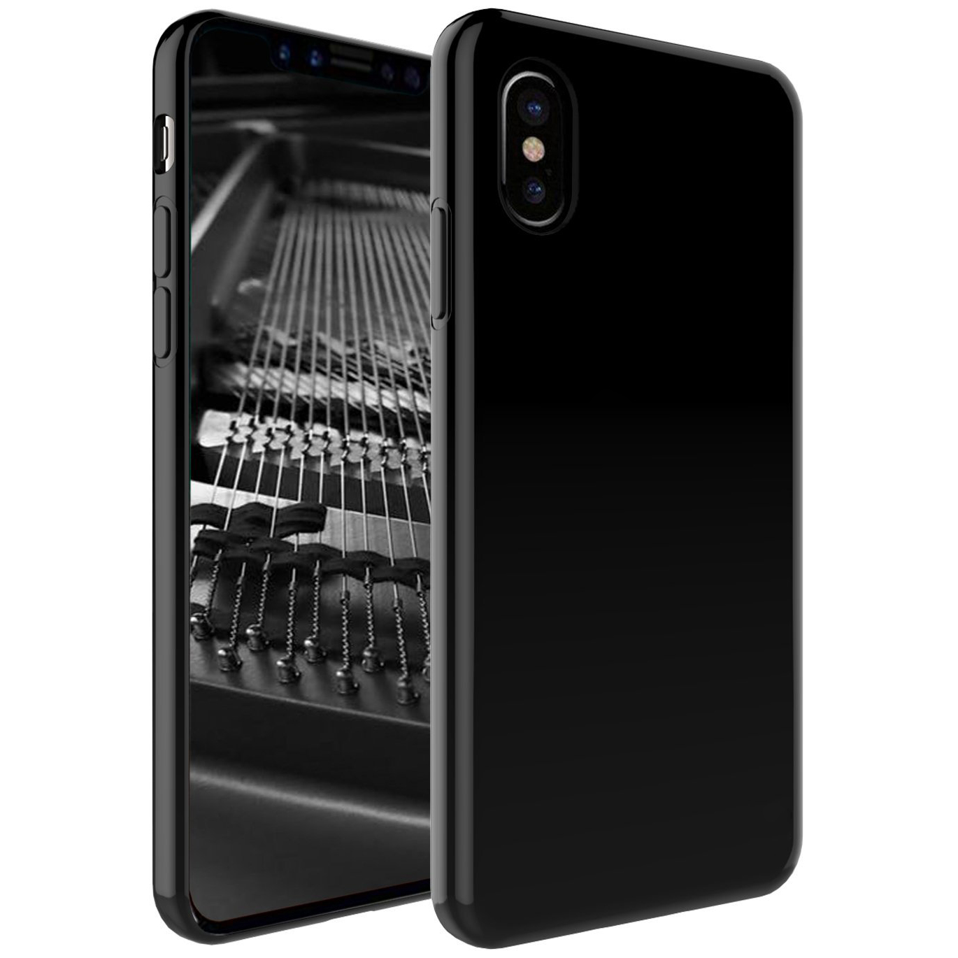 [REDshield] Apple iPhone X TPU Case, Slim & Flexible Anti-shock Crystal Silicone Protective TPU Gel Skin Case [Black]