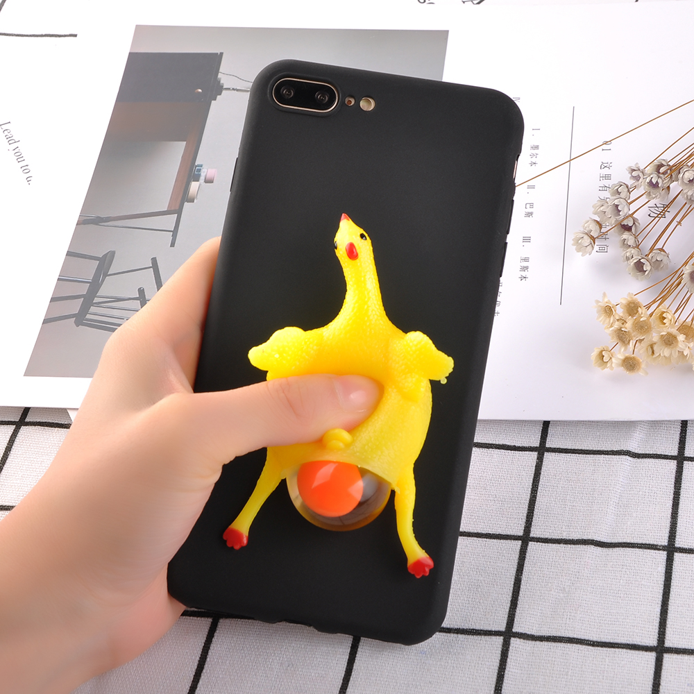 [REDshield] Apple iPhone 8 Plus / 7 Plus 3D TPU Case, [Squishy Egg Laying Chicken on Black] Flexible Anti-shock Crystal Silicone Protective TPU Gel Skin Case Cover