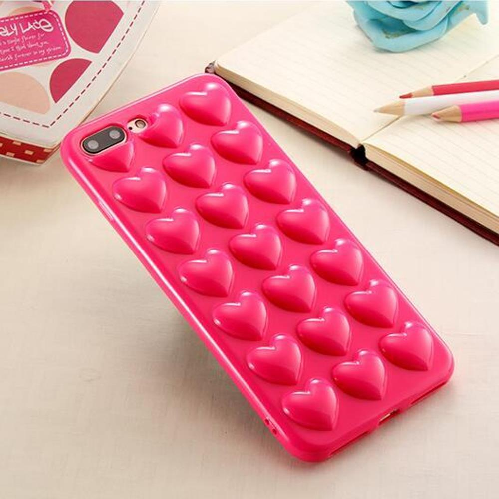 Made for Apple iPhone 8 Plus / 7 Plus 3D TPU Case, [Hot Pink Hearts] Slim Flexible Anti-shock Crystal Silicone Protective TPU Gel Skin Case Cover w/ Wrist Strap by Redshield