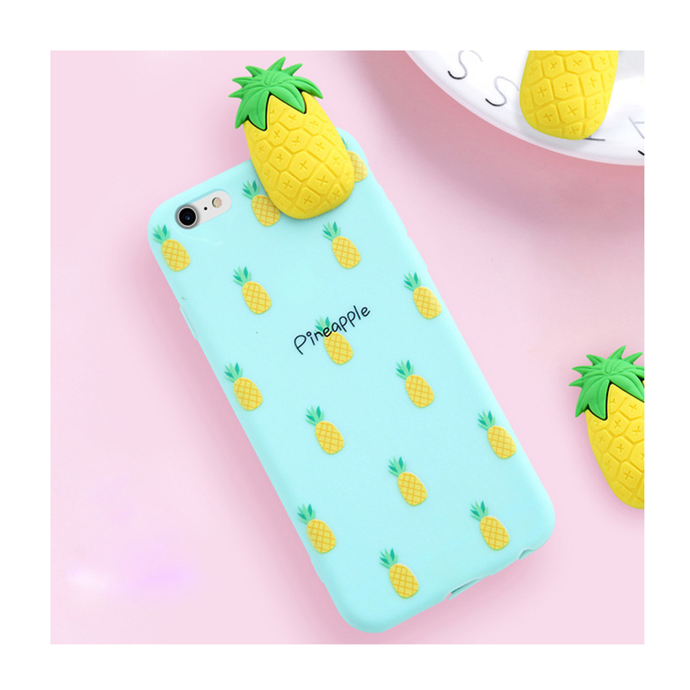 Made for Apple iPhone 8 Plus / 7 Plus / 6S Plus / 6 Plus 3D TPU Case, [Pineapple on Mint] Slim Flexible Anti-shock Crystal Silicone Protective TPU Gel Skin Case Cover by Redshield