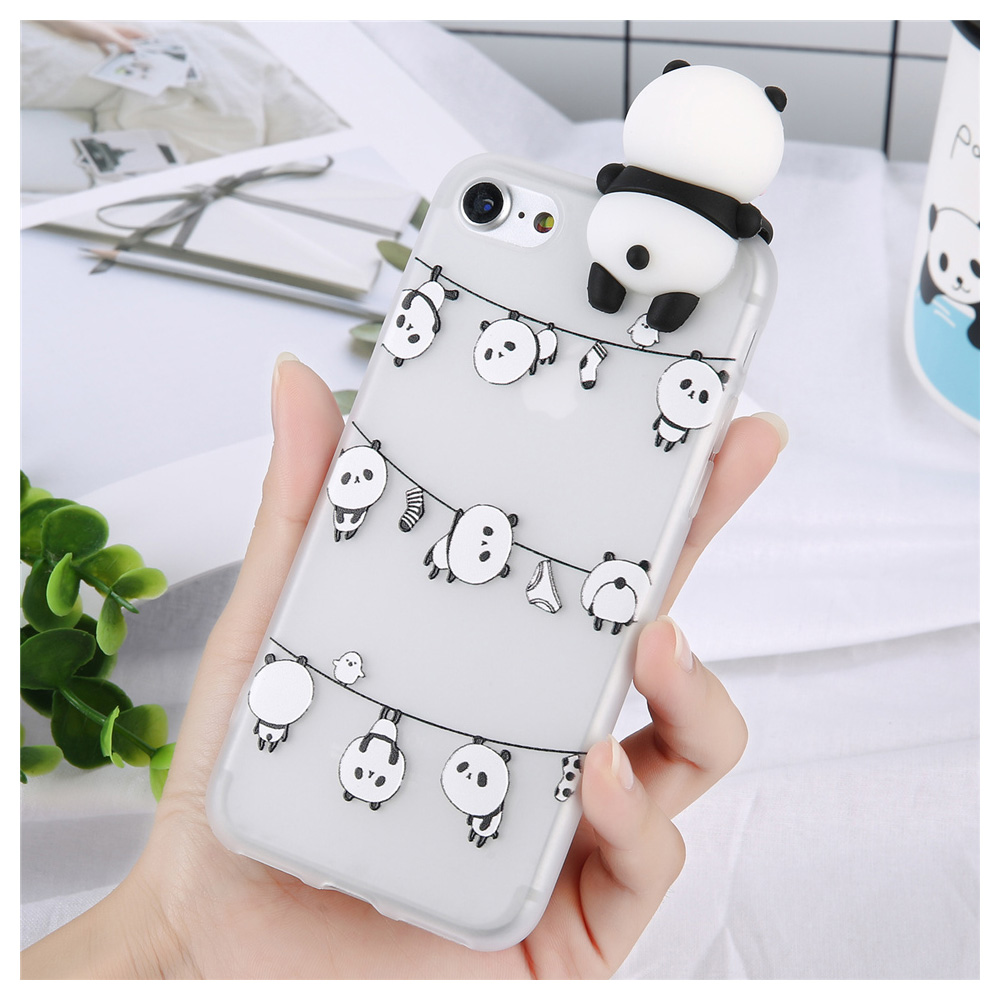 [REDshield] Apple iPhone 8 Plus / 7 Plus 3D TPU Case, [Panda Bears Hanging w/ Laundry] Slim & Flexible Anti-shock Crystal Silicone Protective TPU Gel Skin Case Cover