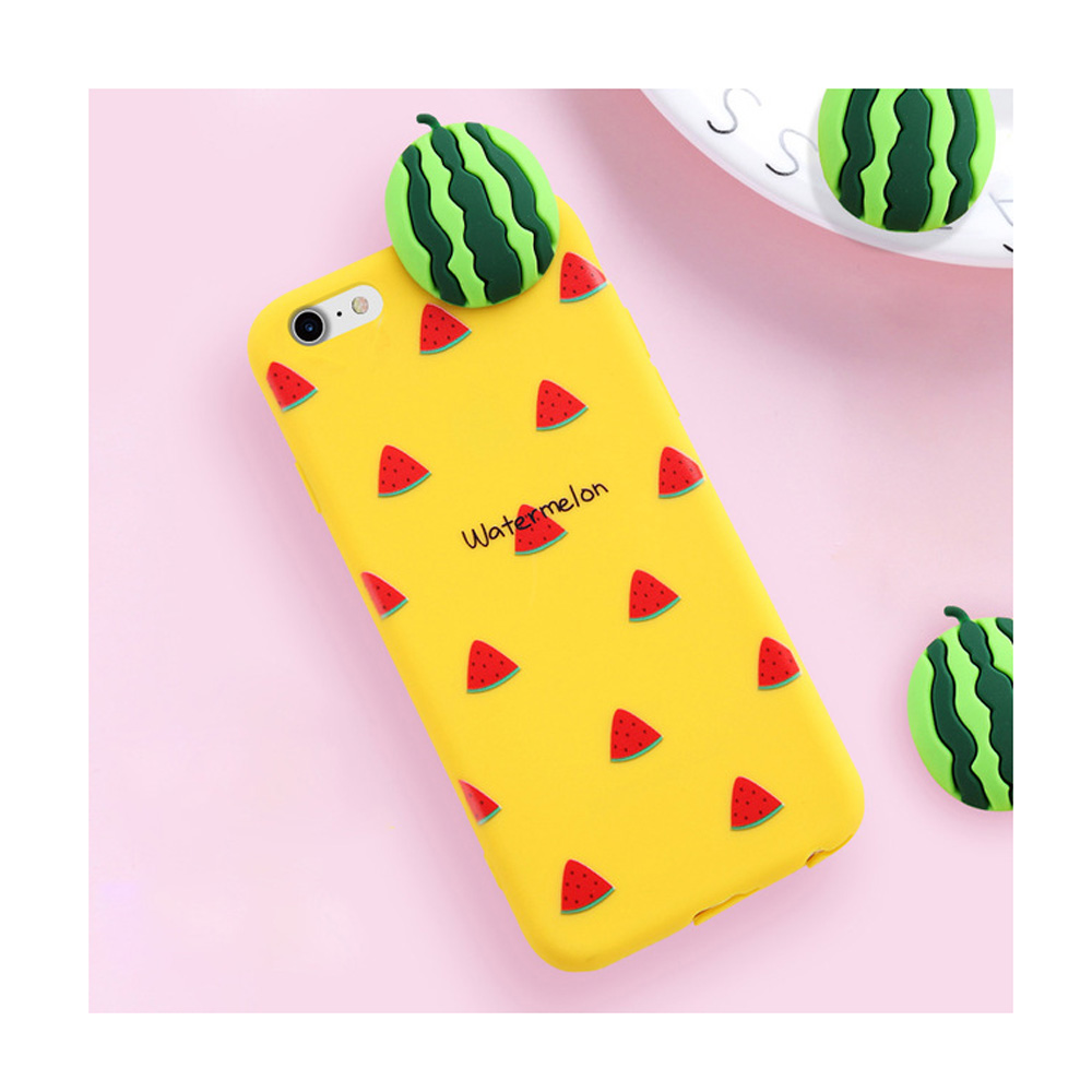 Made for Apple iPhone 8 Plus / 7 Plus / 6S Plus / 6 Plus 3D TPU Case, [Watermelon on Yellow] Slim Flexible Anti-shock Crystal Silicone Protective TPU Gel Skin Case Cover by Redshield