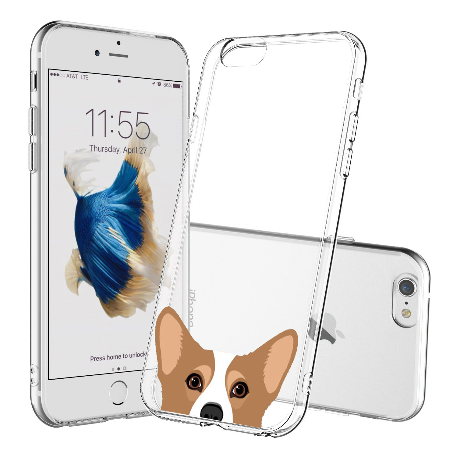 [REDshield] Apple iPhone 8 Plus/ 7 Plus TPU Case, [Corgi] Slim & Flexible Anti-shock Crystal Silicone Protective TPU Gel Skin Case Cover