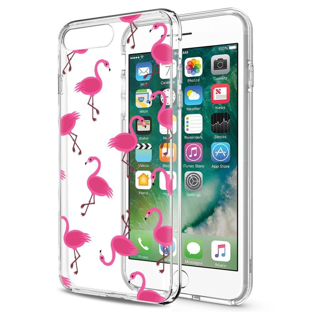 [REDshield] Apple iPhone 8 / 7 TPU Case, [Pink Flamingos] Slim & Flexible Anti-shock Crystal Silicone Protective TPU Gel Skin Case Cover