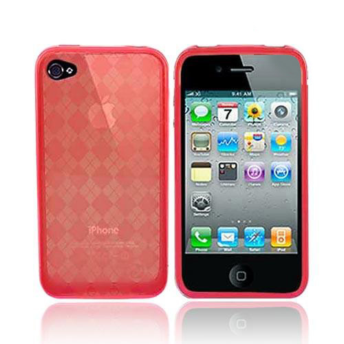 Apple iPhone 4 Crystal Silicone Case, Rubber Skin - Argyle Print Transparent Red - XXIP4