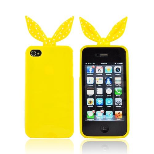 AT&T/ Verizon Apple iPhone 4, iPhone 4S Polka Dot Ribbon Crystal Silicone Case w/ Pink Heart Stand - Yellow