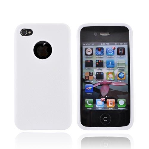 Luxmo Apple Verizon/ AT&T iPhone 4, iPhone 4S Crystal Silicone Case - Leather Textured White